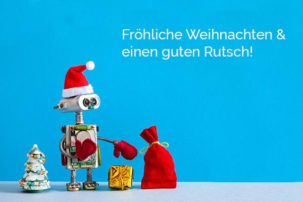 Header Fröhliche Weihnachten - Weihnachtsroboter mit Geschenke